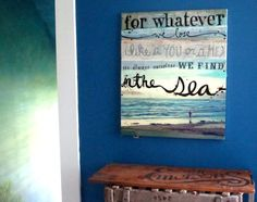 'in the sea' painting by mae chevrette (quote by e.e. cummings)