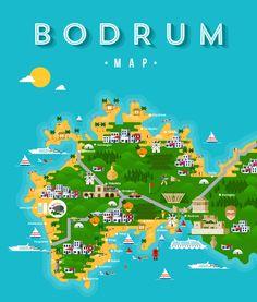 Bodrum Map Illustraiton on Behance