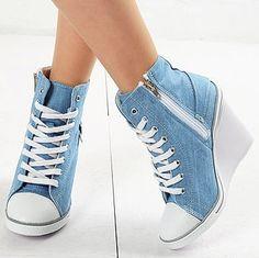Womens Light Blue Denim Sneakers Zip Wedge Heel
