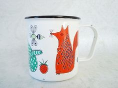 Mid Century Mod Animal Enamel Cup by Finel of Finland - Vintage Finel Finland Childs Mug.