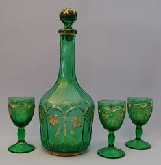 PRESSED GLASS WINE DECANTER AND WINE GLASSES c.1900.
