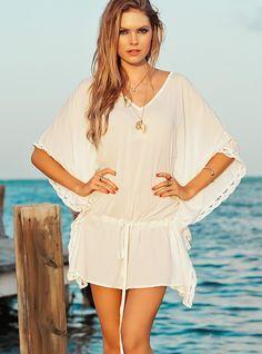 709622b669 Stylish Lady Women's Casual O-neck Batwing Sleeve Lacy Beach Dress Bikini Cover  Ups, beach wear, boho chic beach wear, boho vintage clothing, ...