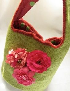 Knitted felted hobo purse.