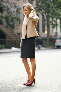 The Classy Cubicle: Power Pieces with Ann Taylor - I love her red heels.