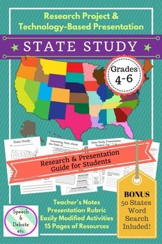 This is a GREAT project for grades 4-6 that incorporates student research, technology, and public speaking! Each student will choose (or you assign) a state to research, complete a research booklet, and create a technology-based presentation (using a teacher-approved presentation software program) to present to the class.