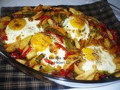 Νοστιμότατα αυγά «μάτια» ψημένα στο φούρνο, απλωμένα πάνω σε πολύχρωμα λαχανικά και σπιτική, απλή σάλτσα ντομάτας, αρωματισμένα με δυόσ...