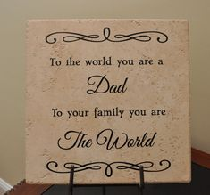 Personalized 12x12 Decorative Tile with Vinyl Lettering Gift for Dad Father