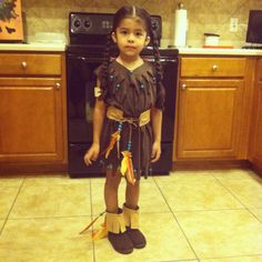 DIY Native American Indian costume. Made with xs men's t-shirt under $15
