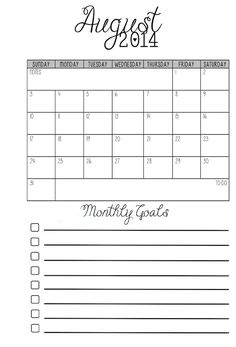 MsWenduhh's Planner Goodies: Pocket Monthly Calendars with Goals for Pocket Size