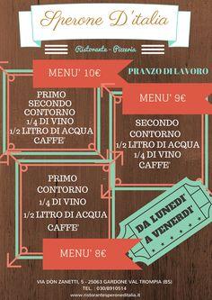 Cari amici, questi sono i menù per i pranzi di lavoro!!!! Saremo lieti di accogliervi e servirvi durante la vostra pausa lavorativa. Buon appetito!!!!!!! Per info Te.: 030/8910514 - Cell.: 333/2680191