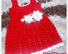 Crochet Baby Dress Pattern, Christening Baby Dress, Crochet Baby Pattern, Baby Girl Dress, Red Dress, 0-4 years, Dress Pattern, How to make