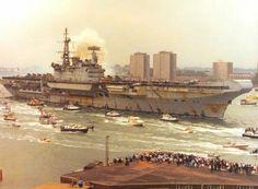 HMS Hermes (R12), Return fron the Falkland Islands, 1982.