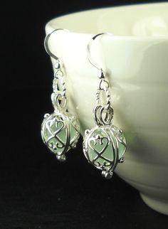 Mermaid Tears Earrings, GENUINE Aqua Sea Glass Earrings In Silver