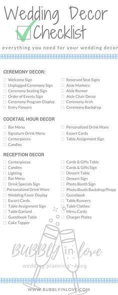 Wedding Decor Checklist   Wedding Decor   Ceremony Decor   Reception Decor   Cocktail Hour Decor   Wedding #weddingdecoration