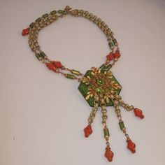Miriam Haskell Coral Glass Fringe Necklace by VintageJewelsAndMore, $850.00