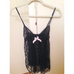black sheer lacy lingerie with polkadots Sexy sleep wear xs very pretty on stretchy and comfortable not from Victoria's Secret, tagged for views!  a lot of my items are UNDER $10 bundle and save Victoria's Secret Intimates & Sleepwear Chemises & Slips