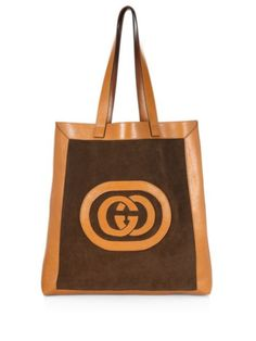08b7f50871e2 Saks Fifth Avenue Brown Cognac Totes Men Suede Large Logo Tote http://www