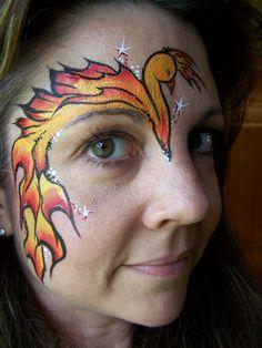 Phoenix Face Painting eye design