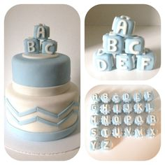 baby shower fondant cake with alphabet baby blocks.