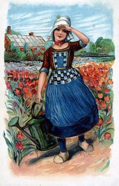 "This vintage post card has the quality & vivid color that a fine piece of Dutch Art would have....only the size is aprox. 4""x6"".:"