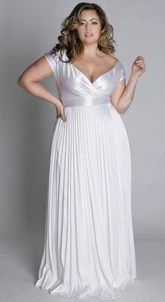 vestido de noiva para gordinhas cetim plissado