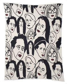 "Warm blankie featuring public intellectuals Susan Sontag, Yoko Ono, Hannah Arendt, Judith Butler, Joan Didion, and Simone de Beauvoir.    Who better to snuggle up and read a book with?   Handmade in the U.S.A. 50""x60"". 80% recycled cotton 20% acrylic.  Machine washable."