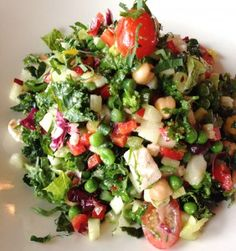P.J. Clarke's On the Hudson, revisit 2015 - The chopped kale market salad contained all those veggies plus kale, asparagus, green peas, feta cheese and cherry tomatoes ($15.20)