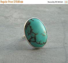Turquoise Ring  Artisan Ring  Gemstone Ring  Oval by Studio1980