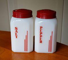 Hazel Atlas Red Vertical Lines Salt Pepper Range Shaker Set - 1930s - Vintage Set of 2 by RainsandCo on Etsy
