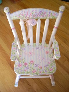 Personalized Handpainted Rocking Chairs | Rocking Chairs for Kids | Children's Wooden Rockers | Kid's Wood Rocking Chairs | The Bedford Rocker| Custom Hand Painted Children's Furniture by Jane Marie