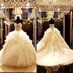 Elegant Ivory Ruffles...Lace and Jeweled Wedding Gown With Ruffled Train