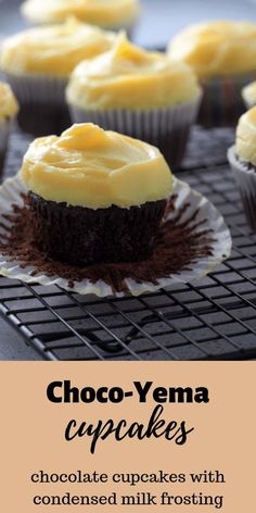 Moist chocolate cakes topped with a luscious yema frosting, these Choco-Yema Cupcakes are the perfect balance of chocolate and condensed milk in a decadent dessert. #chocolateyema #yemacupcakes #chocoyema
