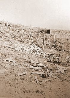 In this photo taken three years after the battle, bones and remains are everywhere.