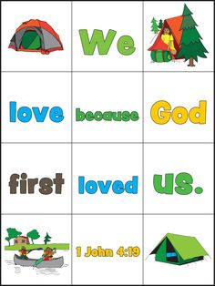 For this week's freebie Guildcraft Arts & Crafts brings you VBS Memory Verse Mix-Up Sheets. You can print out one for each child at VBS or print out a few and laminate them to provide a game for early craft finishers. We love that kids can assemble a verse they are learning about, helping them anchor that verse in their hearts until a time they might need to remember it. #VBS #VBSCraft #VBS2015 #Camping #GuildcraftAC
