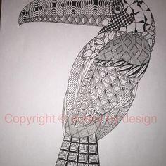 Toucan template, thx Ben! #dubbybydesign #zentangle #zentangleinspiredart #benkwok #ornationcreation #inkdrawing #zendoodle #doodle