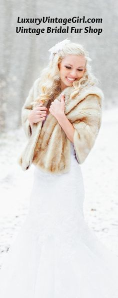Shop vintage bridal furs for your winter wedding, fall wedding, Great Gatsby party or retro fur ward Winter Wedding Fur, Winter Wonderland Wedding, Fall Wedding, 1920s Wedding, Wedding Hair, Wedding Ideas, Wedding Dresses, Fur Vintage, Vintage Bridal