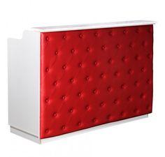 Salon Furniture: Deco Elizabeth Reception Desk — White/Red