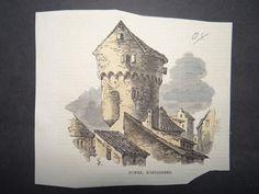Tower Königsberg Preussen Residenz Stadt Lithographie 19. Jahrhundert