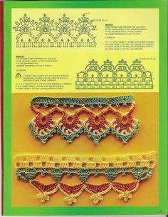 Free crochet chart - pictorial instructions for this crochet edging Crochet Diy, Crochet Motifs, Crochet Borders, Crochet Chart, Love Crochet, Crochet Stitches, Beautiful Crochet, Crochet Paisley, Crocheted Lace