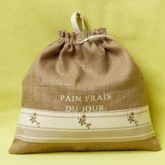 Sac Pain Tons De Vert Blanc Et Cru Fait Main