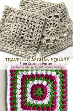 Tulip Afghan Square Free Crochet Pattern – Knit And Crochet Daily Tulpe Afghan Square Free Häkelanleitung Crochet Sampler Afghan Pattern, Crochet Bedspread Pattern, Crochet Squares Afghan, Crochet Motif Patterns, Granny Square Crochet Pattern, Knitting Patterns, Blanket Crochet, Free Crochet Square, Granny Squares