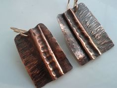 Copper Rustic Foldformed Earrings Fold by HeathersHandcrafted, $30.00