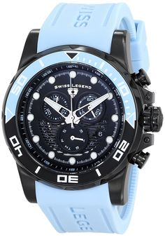Swiss Legend Men's 21368-BB-01-BBLAS 'Avalanche' Stainless Steel Watch with Light Blue Silicone Band ** Click image for more details.