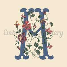Provance Alphabet. Upper Case Letter M. Machine Embroidery Design. Monogram letter. Instant Download. Hoop embroidery. 2 sizes http://etsy.me/2nKoTTh #supplies #embroidery #machineembroidery #digitizeembroidery #design #designpattern #floral #provancealphabet #uppercas