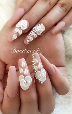 Nude nails with art 3d Acrylic Nails, 3d Nail Art, Acrylic Nail Designs, Nail Art Designs, 3d Flower Nails, Long Nail Designs, Bride Nails, Manicure E Pedicure, Pretty Nail Art