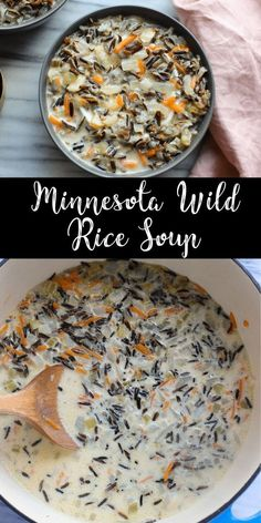 This Minnesota Wild Rice Soup is creamy and delicious with a rich broth and hearty wild rice. Perfect for a chilly winter evening! This recipe is gluten free and can easily be made vegan. *** I used chicken broth instead of veg. Wild Rice Recipes, Healthy Soup Recipes, Vegetarian Recipes, Cooking Recipes, Vegetarian Crockpot Soup, Easy Crockpot Soup, Free Recipes, Easy Recipes, Chicken Wild Rice Soup