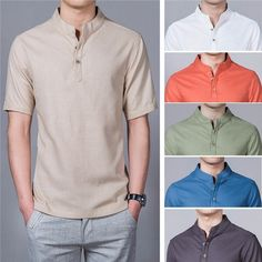Estilo para homens · Summer Mens Plus Size Chinese Style Linen Breathable  Short sleeved Stand Collar T Shirts Roupas Masculinas 25d6b7bfc4fbc