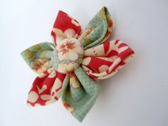 Large Red and Green Flower Hair Clip by LemonandBees on Etsy, $5.00