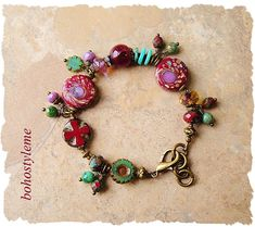 Bohemian Jewelry Handcrafted Rustic Glass and Stone Cluster