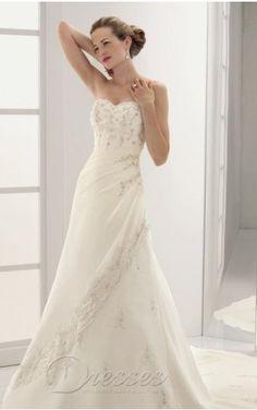 Bargain Mermaid Floor-length Sweetheart White Chiffon Dress